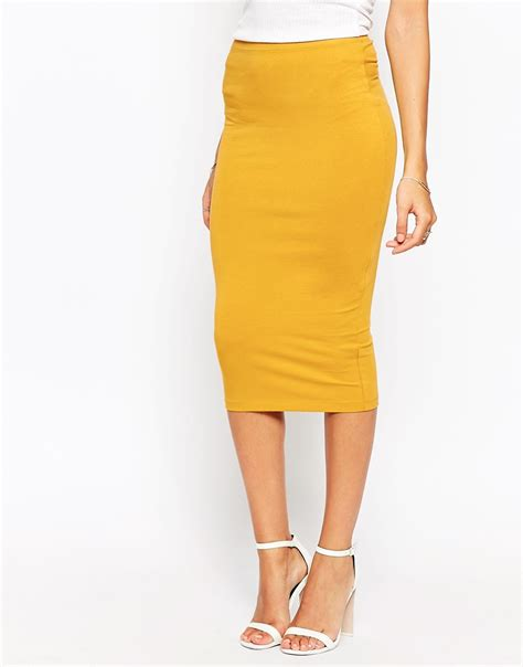 asos jersey knee length pencil skirt in yellow mustard