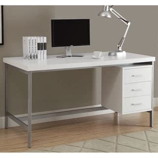 White And Silver Metal 60 Inch Office Desk Overstock Overstock White Desk