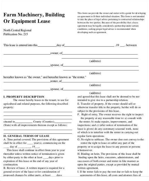 27 Lease Agreement Sles Sle Templates Farm Out Agreement Template