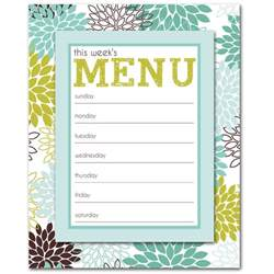 free printable weekly menu planner template breeds