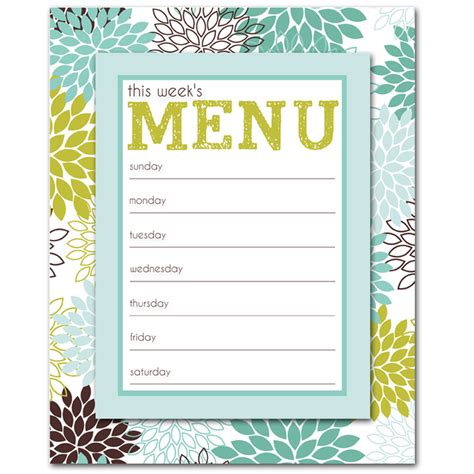 free printable menu template free printable weekly menu planner template breeds picture