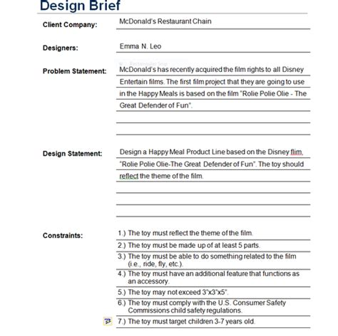engineering design brief template choice image templates