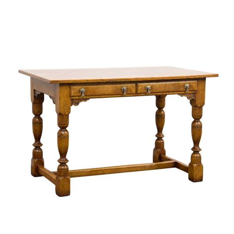 Slim Study Desk by Slim Desk With 2 Drawers Solid Oak Writing Desks Tudor