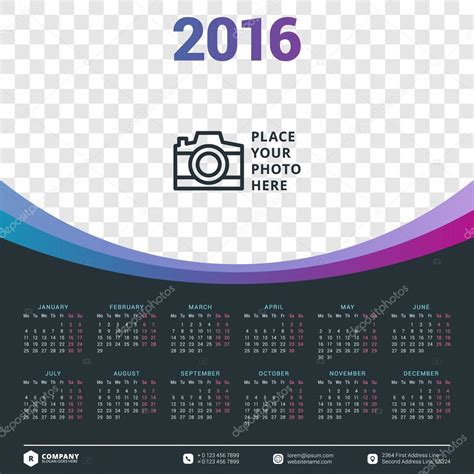 free calendar design templates calendar 2016 vector design template stock vector