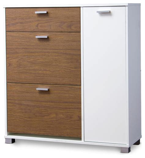 contemporary shoe storage cabinet baxton studio chateau storage cabinet white and walnut
