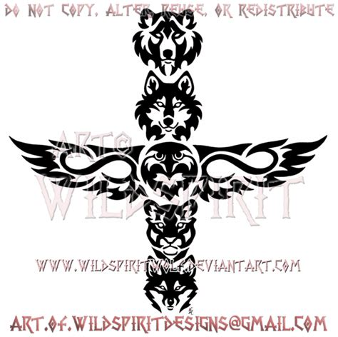 tribal totem pole tattoo designs metis five animal totem tribal design by wildspiritwolf on
