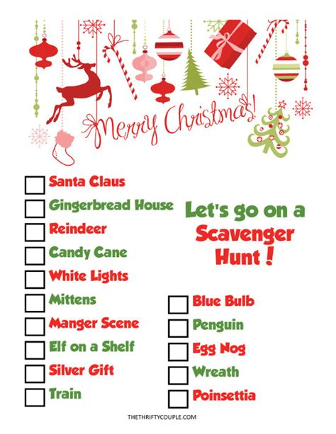christmas scavenger hunt printable fun christmas party idea