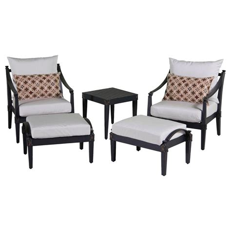 Rst Brands Astoria 5 Piece Patio Club Chair And Ottoman Club Chair And Ottoman Set