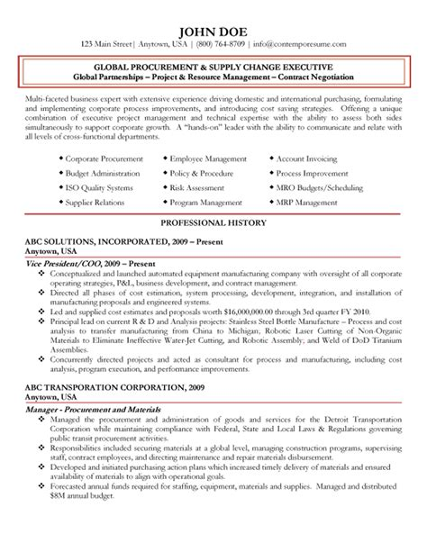 Procurement Resume Format by Global Procurement Executive Resume