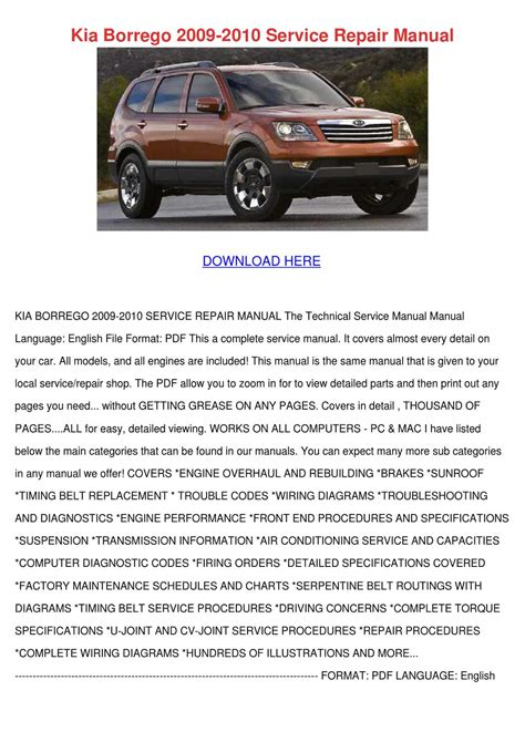 kia borrego 2009 2010 service repair manual by darci lovering issuu