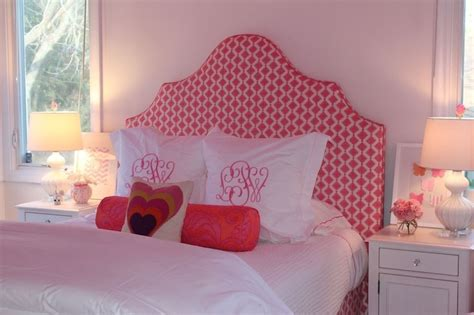 White And Pink Headboard Contemporary Girl S Room