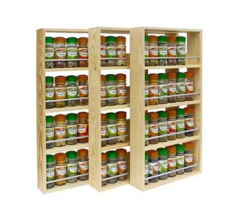 Wall Mounted Wooden Spice Rack Solid Pine Spice Rack 4 Tiers Shelves Silverapplewood