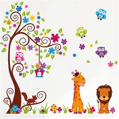 Owls Family Ay9004 Stiker Dinding Wall Sticker 2 pieces set kartun singa hewan pohon keluarga burung
