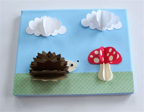 3d Paper Crafts - original hedgehog and 3d paper wall by