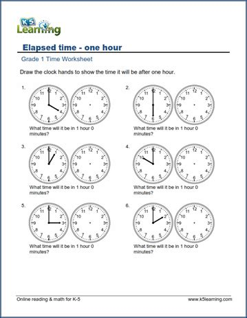 math worksheets for grade k grade 1 time worksheet elapsed time what time will it be in one hour k5 learning
