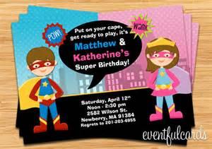 les enfants super h 233 ros et supergirl mixte invitation