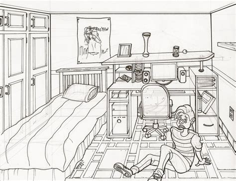 draw room bedroom drawing one point perspective one point