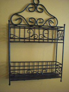 Wrought Iron Spice Rack by Wrought Iron Spice Rack Display Shelf Green Black Solid Metal On Popscreen