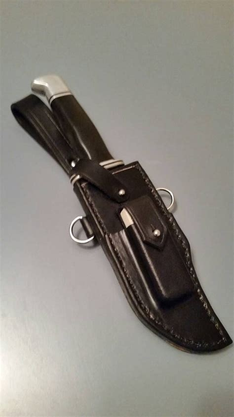custom leather knife sheath for buck 119 w formed whetstone