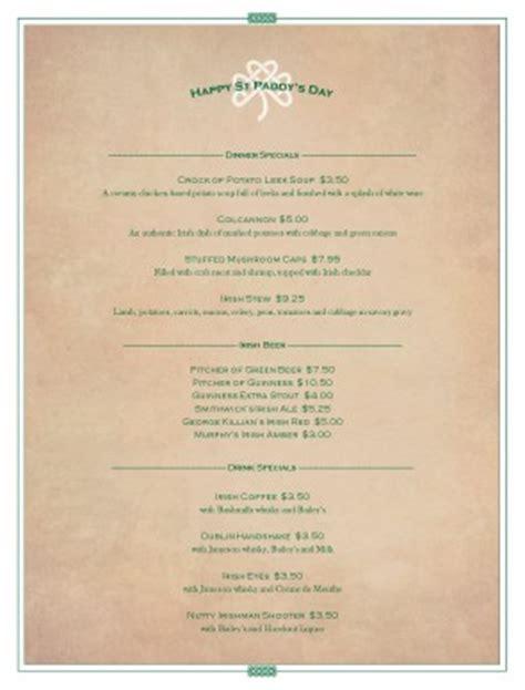 irish st patricks menu st patricks day menus