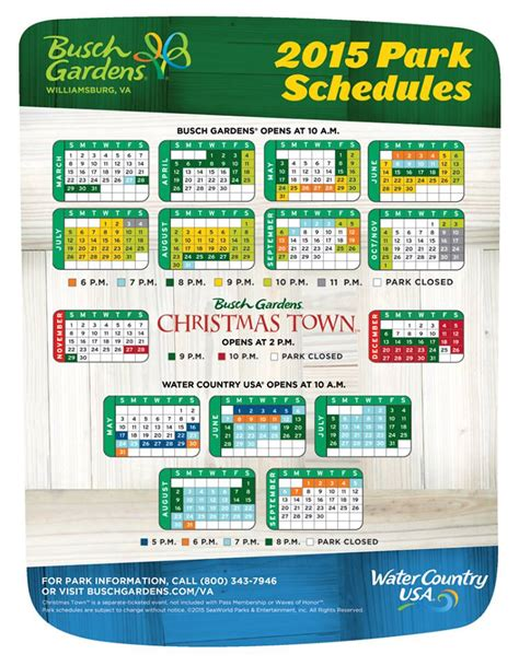 Busch Gardens Calendar 2015 Busch Gardens Williamsburg Schedule Attraction Chasers