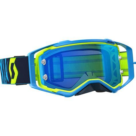 mirrored motocross goggles scott new mx prospect blue yellow chrome mirror lens