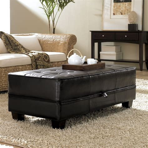 Leather Rectangular Ottoman Coffee Table Rectangular Black Leather Tufted Ottoman Coffee Table With Storage On Fluffy Living Area Rug