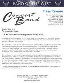Concert Press Release Template by Usaf Band Of The West Concert Band Publicity Kit