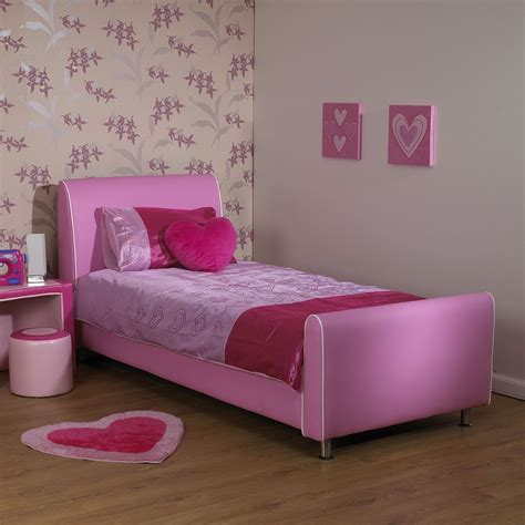 Co uk a amp i beds azure girls pink faux leather bed hf4you co uk
