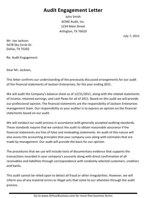 sample audit engagement letter printable
