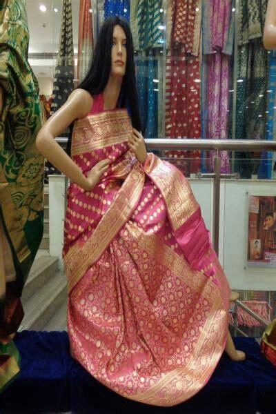 Pink Banarasi Saree from Sriniketan, Kolkata   Banarasi