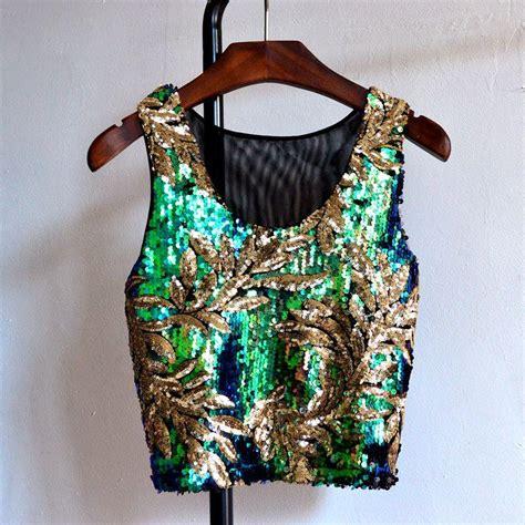 Glitter Sleevless Blouse womens summer tank tops vest glitter sequin blouse