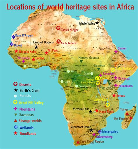 map of africa deserts places heritage
