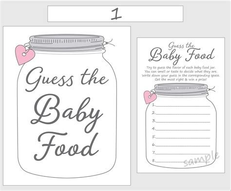 baby food guessing template guess the baby food printable baby shower pink