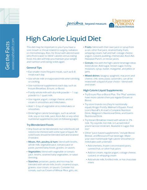 high calorie food high calorie liquid diet free