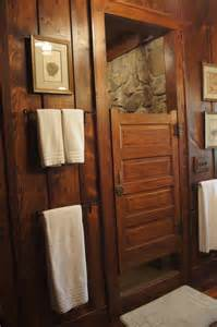 Log Cabin Shower Curtain - reclaimed bath door for shower door rock shower hemlock paneling bathroom diy