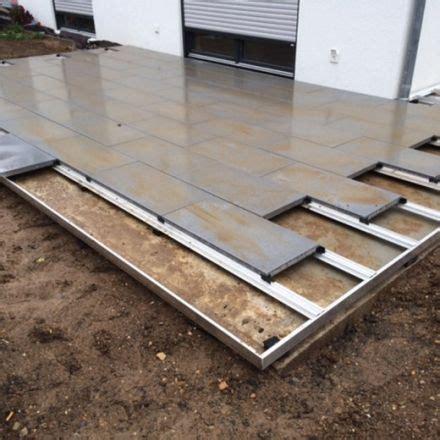 terrasse englisch terrassenplatten verlegen mit dem metten profilsystem
