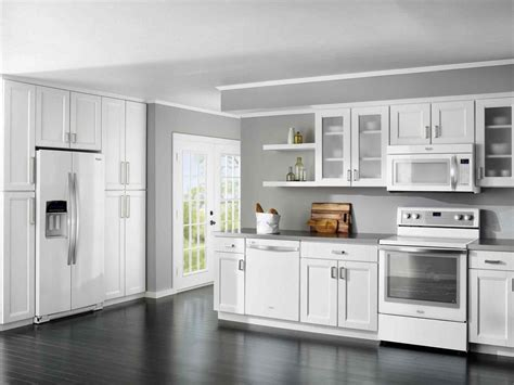 gray kitchen with white cabinets white shaker kitchen cabinets grey floor deductour com