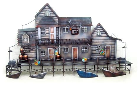 metal home decorating accents sea village metal wall art home decor
