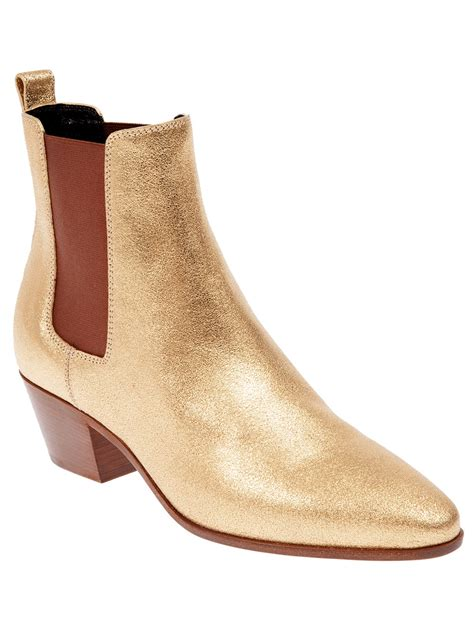 laurent cuban heel ankle boot in metallic lyst