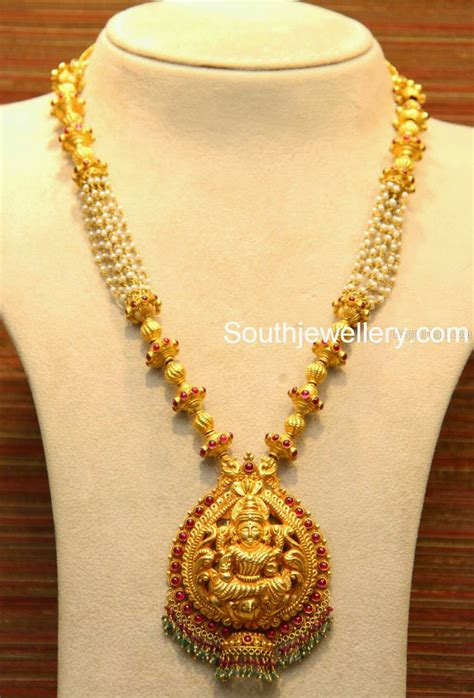 lakshmi necklace with pearls jewellery designs