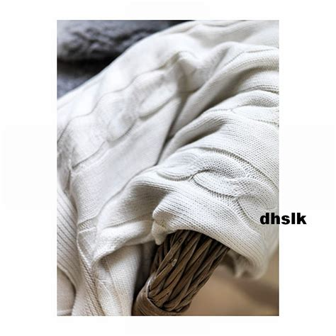 Ikea Ursula Afghan Throw Blanket Bleached Cable