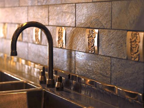 metallic backsplash tile tin backsplashes kitchen designs choose kitchen