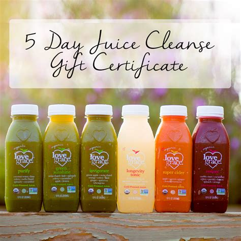 Five Day Detox Juice by 5 Day Juice Cleanse Gift Certificate Grace Inc