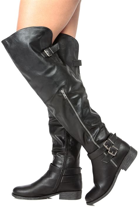 Black Faux Leather Over The Knee Buckle Up Riding Boots