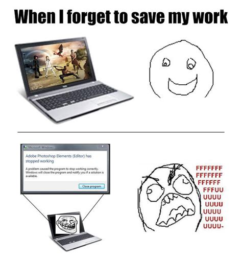 How To Save A Meme - when i forget to save my work rage guy fffffuuuuuuuu