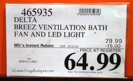 costco bathroom fan costco sale delta breez ventilation bath fan 64 99