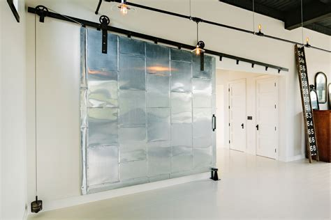 Metal Barn Doors Hall Industrial With Baseboards Exposed Commercial Barn Doors