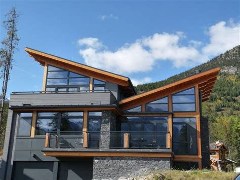 butterfly roof exterior rustic  wood siding