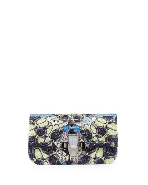 Kara Ross Cella Bag by Kara Ross Mira Mini Python Clutch Bag In Multicolor Black